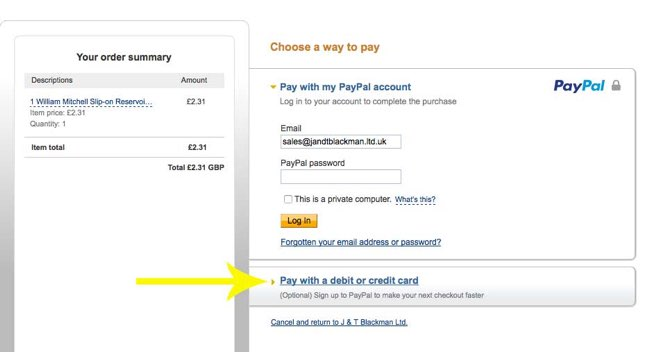 Paypal paying without account